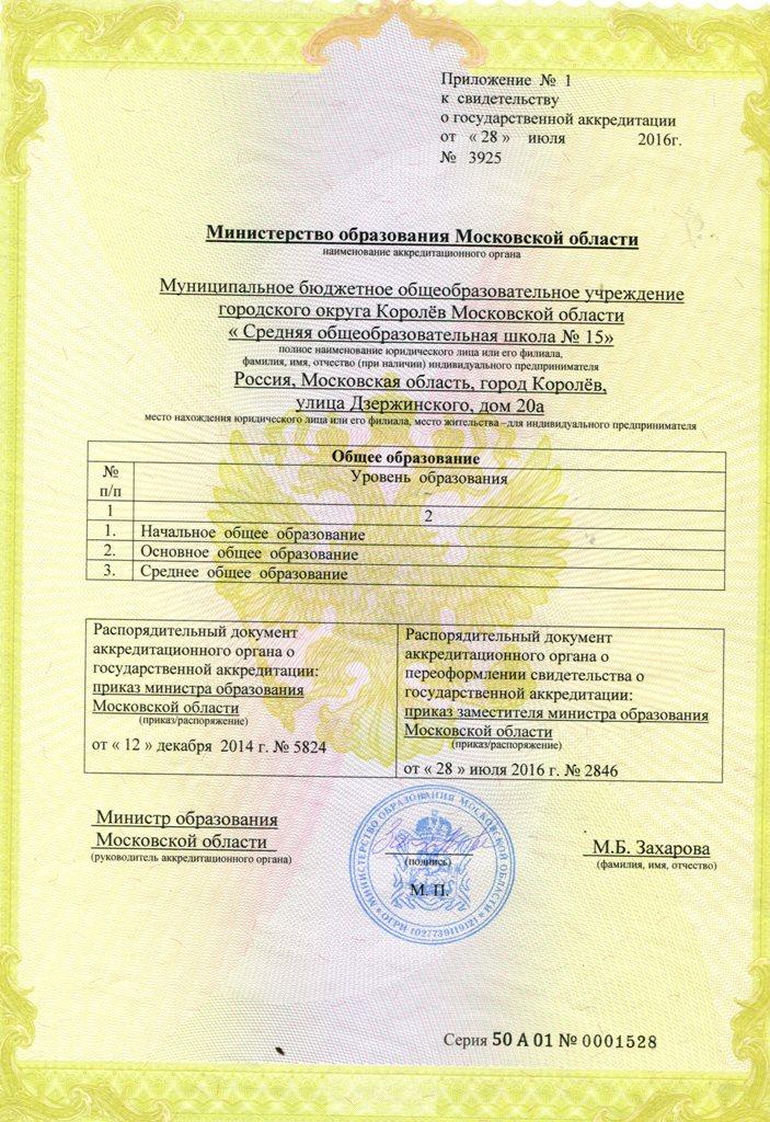 Приложение к свидетельству о государственной аккредитации серия 50А01 № 0001274 от 28.07.16 по 22.12.26